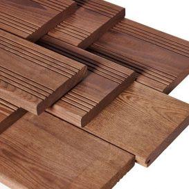 Terrasse en frêne thermo THT lisse ou strié choix A 21x140