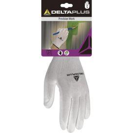 Gant tricot polyester/paume blanc PU DPVE702P