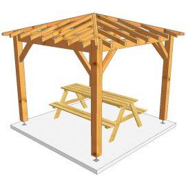 Kiosque bois carré 1061 3mx3m