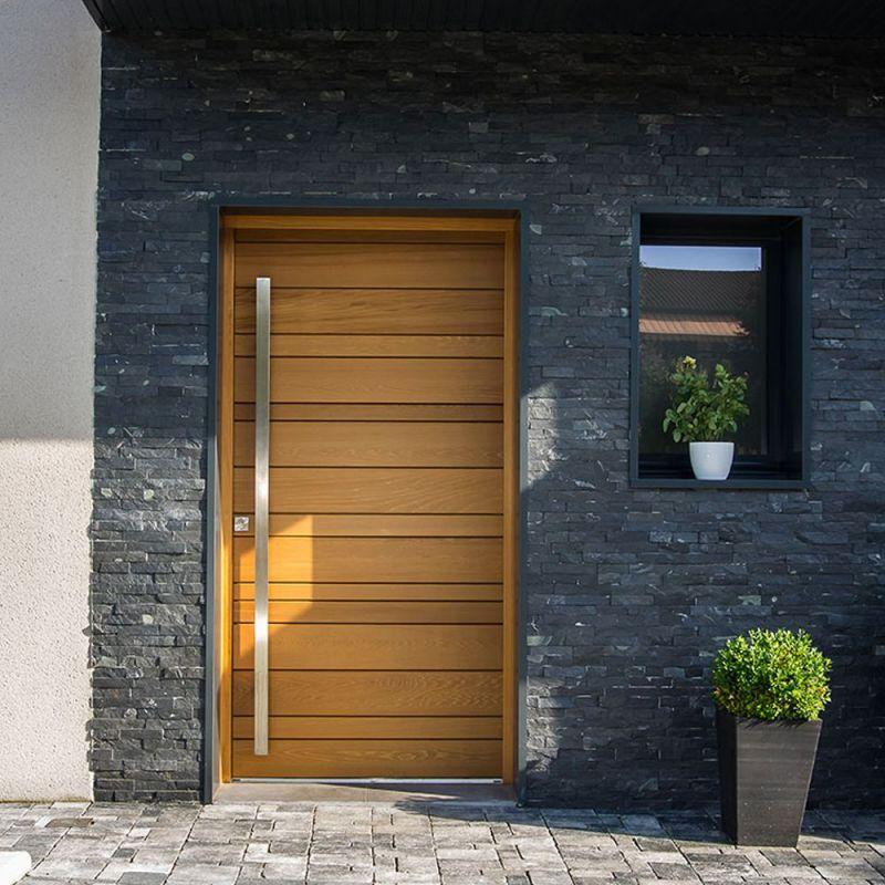 Porte d'entrée mixte bois/alu