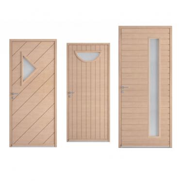 Porte d'entrée bois contemporaine Bremaud