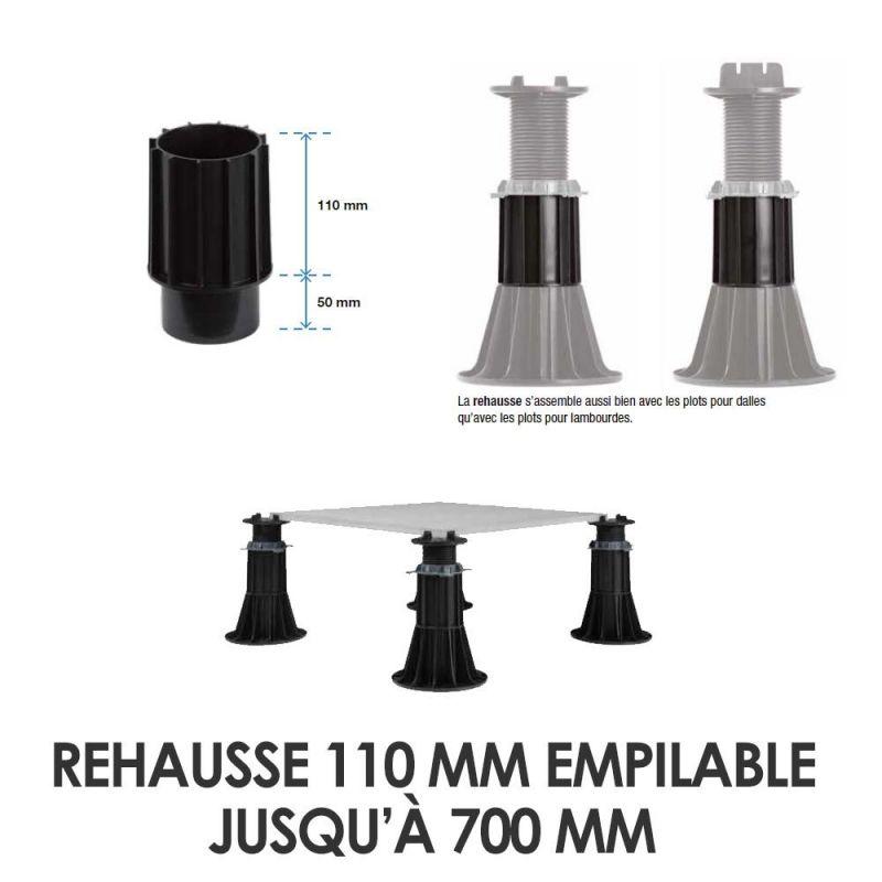 Rehausse 110 mm empilable jusqu'à 700 mm