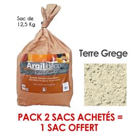 Pack d'enduit à l'argile d'origine naturelle 2 sacs de 12.5 kg achetés + 1 sac offert