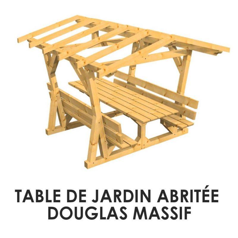 Abri De Jardin En Pin Douglas table de jardin abritée douglas massif | kenzai matériaux