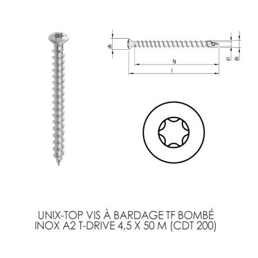 Unix-top vis à bardage en Inox A2 T-Drive