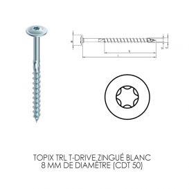 Topix TRL T-Drive zingué blanc 8 mm en acier