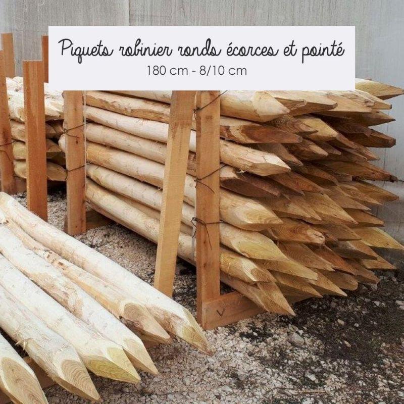 Piquets Robinier Acacia Ronds Pointés | Kenzai Matériaux Écologiques