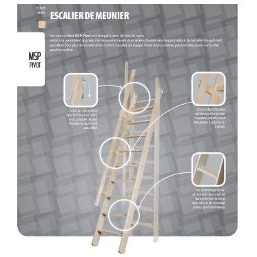 Escalier de meunier Pivot en sapin 300 x 55 cm Fakro
