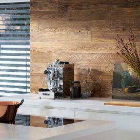 Lambris chêne barrique river brossé relief huilé Haro Wall Design Patagonia