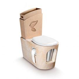 Toilette sèche avec base en bois brut et abattant plastique