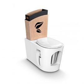 Toilettes sèches en bois blanc et réservoir en carton