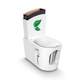 Toilette sèche en bois blanc et réservoir en bois blanc