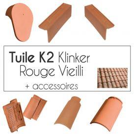 Tuiles Klinker K2 et accessoires - finition Rouge Vieilli