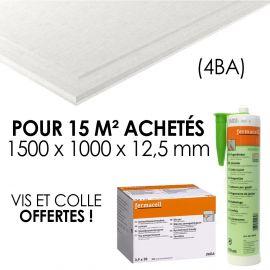 Pack 15 m² plaques Fermacell à 4 bords amincis 1500 x 1000 x 12,5 + Colle à joint Greenline et vis 3,9 x 30 (boite 250) offert