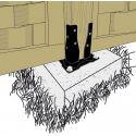 Pied de poteau carré de jardin à boulonner AG527PB en noir