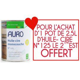 Pack 1 pot de 2.5 L d'huile-cire Monocouche Auro n°125 acheté + 1 pot offert